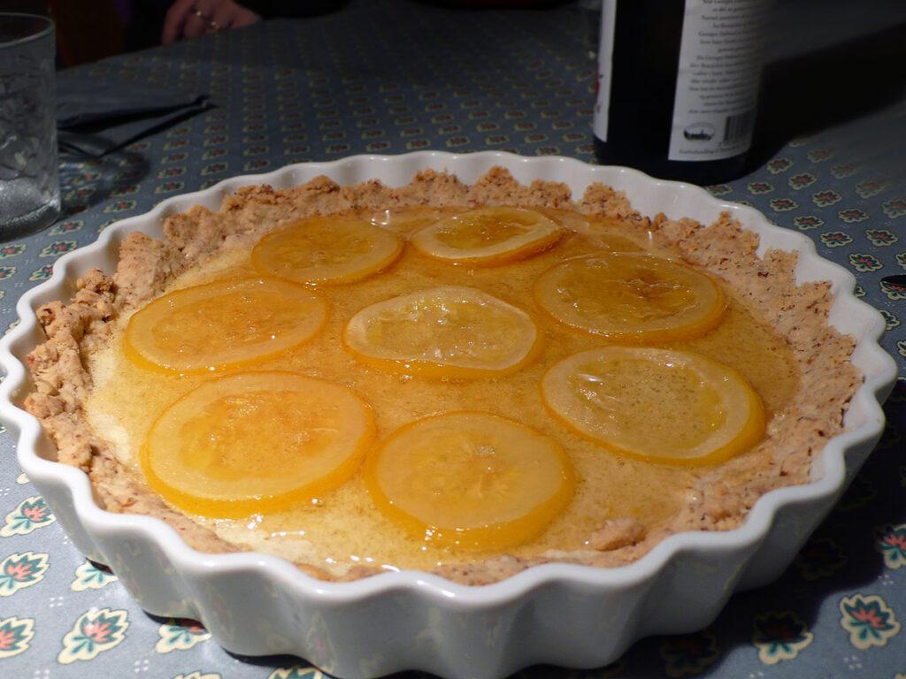 citrontærte, fransk, tærte, kage, dessert, mandler, rørsukker, hvedemel, citroner, smør, mørk rom, æg
