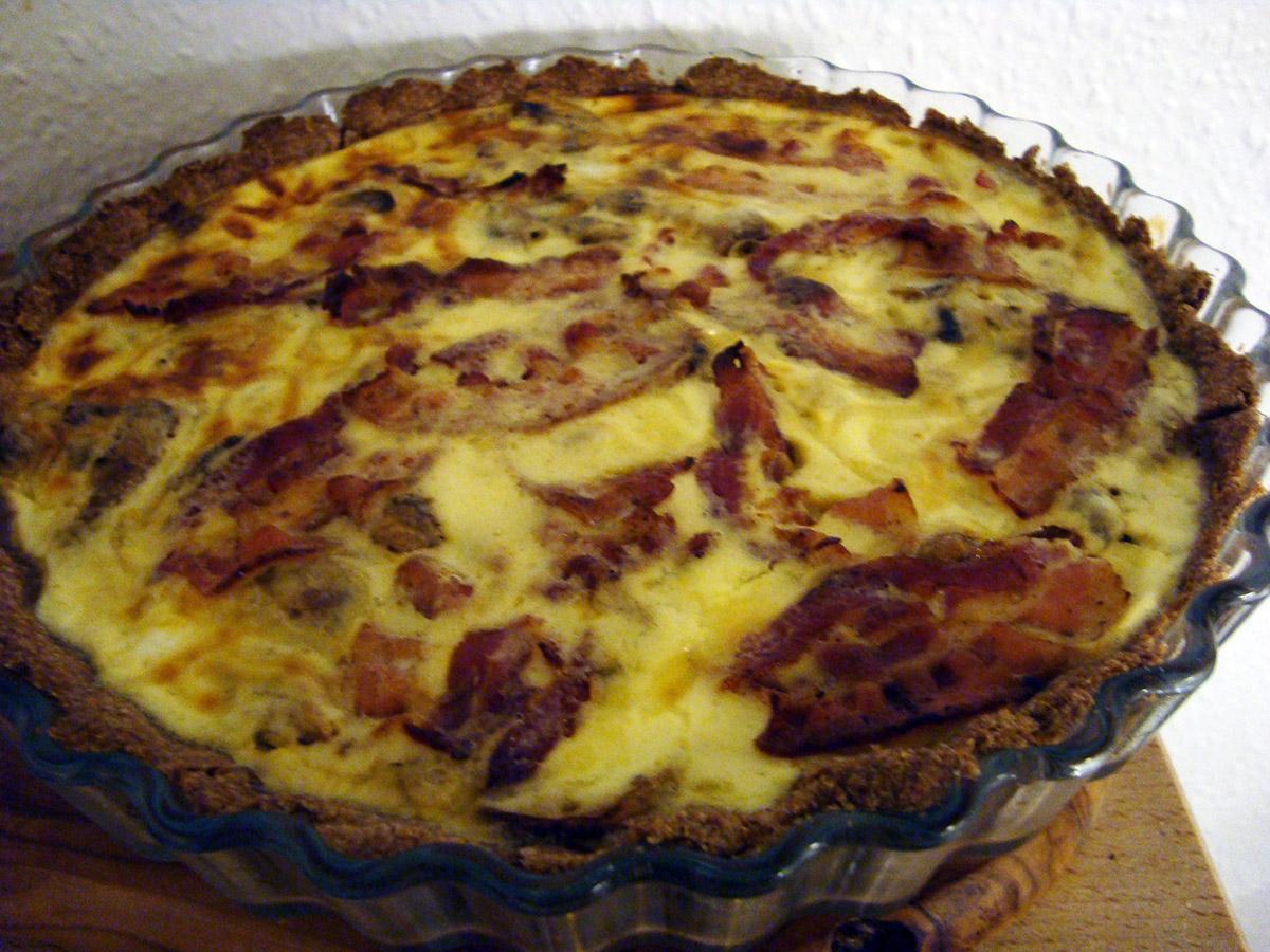 Champignon-bacon tærte