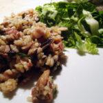 Tranebærgele og svampe-bacon risotto