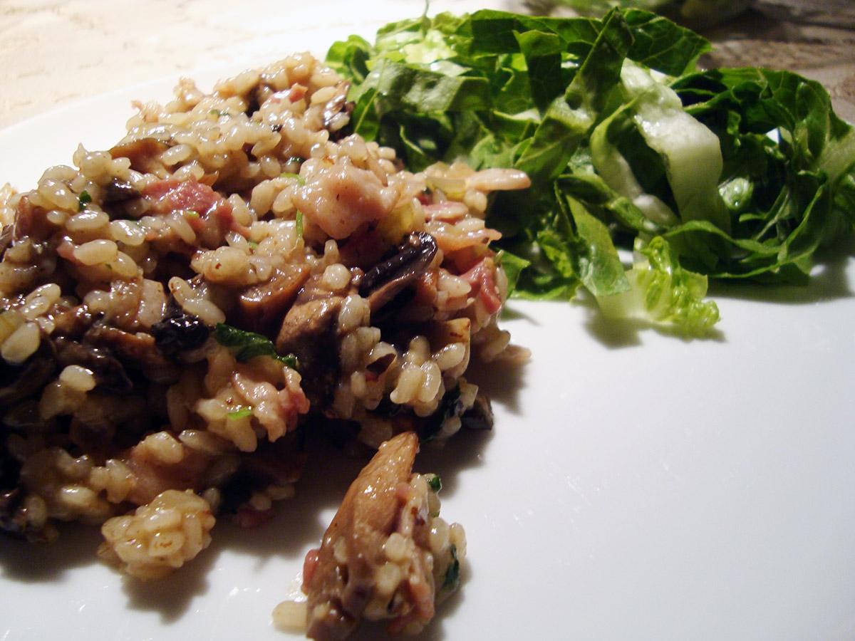 Svampe-bacon risotto