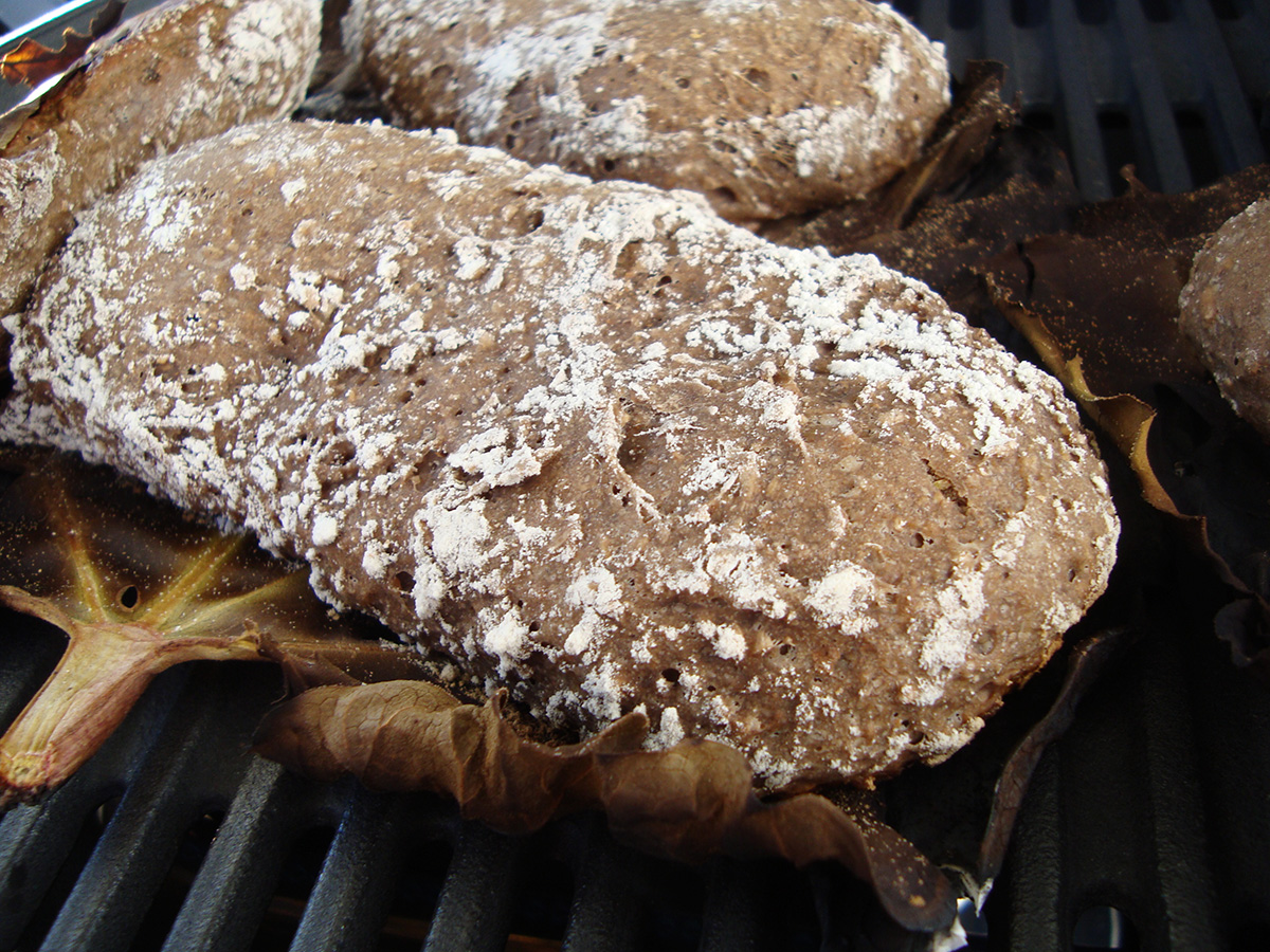Rabarber-maltbrød og kålpakker på grillen