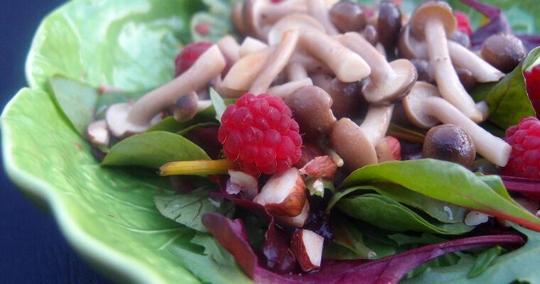 Svampesalat med hindbær og hasselnødder – og så en kejserhattepizza