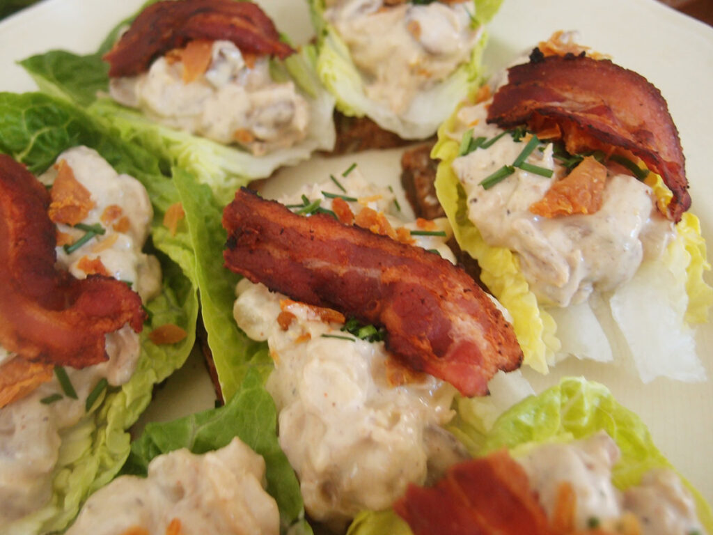 hønsesalat, pålæg, pålægssalat, kylling, champignons, sennep, hvide asparges, asparges, mayonnaise, creme fraiche