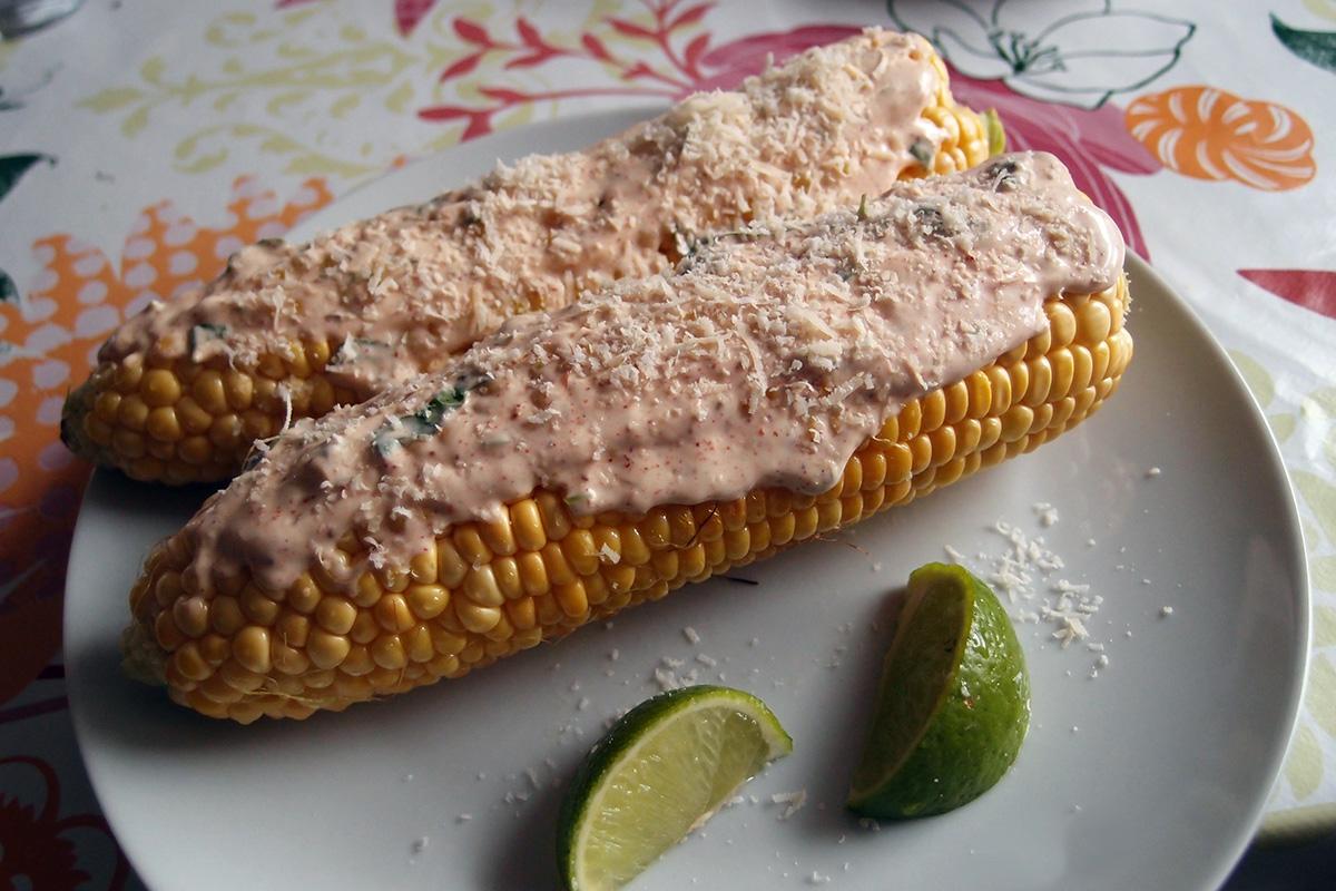 majskolber, mexicansk, parmesan, mayonnaise, creme fraiche, chipotle, lime