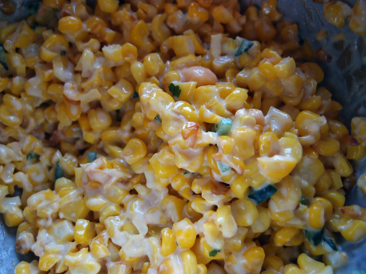 mexicansk majssalat, majs, ost, chili