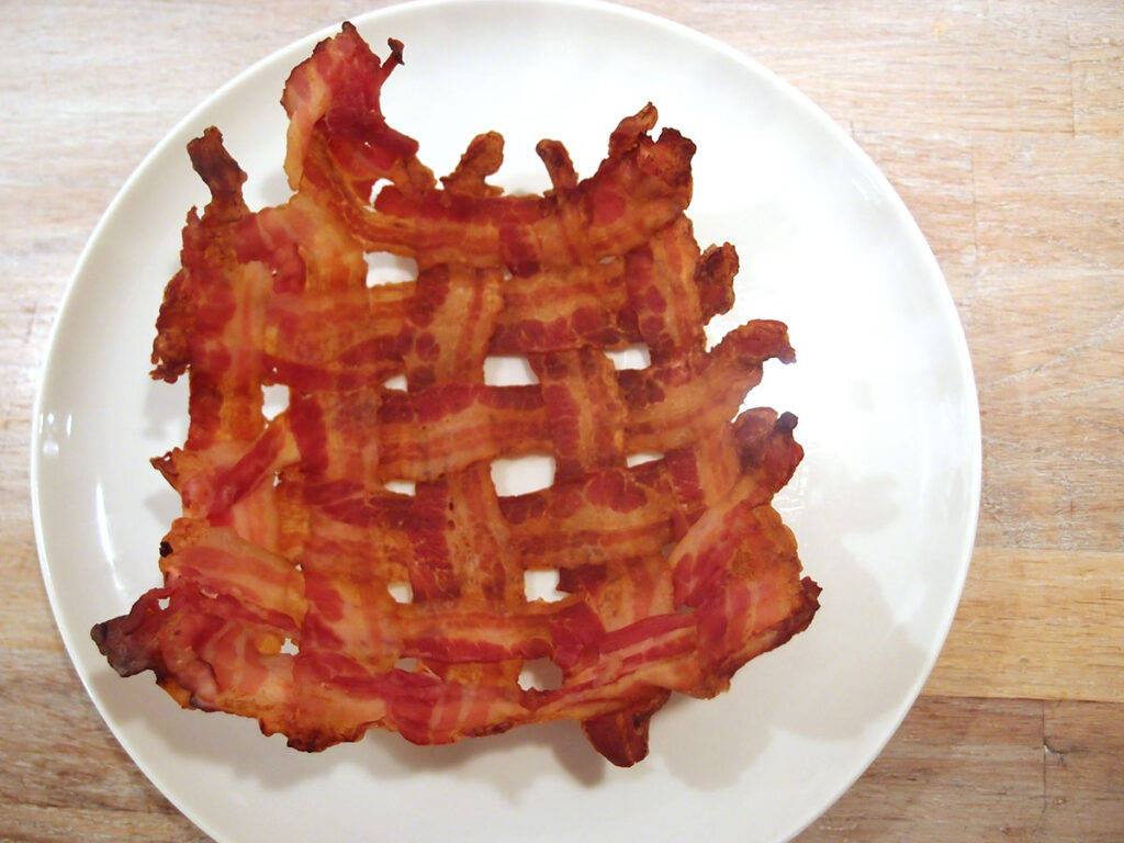 bacon, svinekød, bacon-skål, skål af bacon