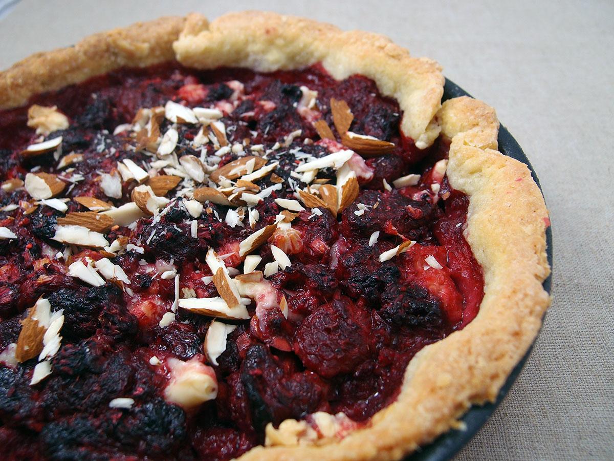 Hindbærtærte med marcipan
