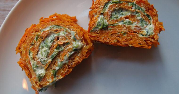 Gulerodsroulade med spinatfyld