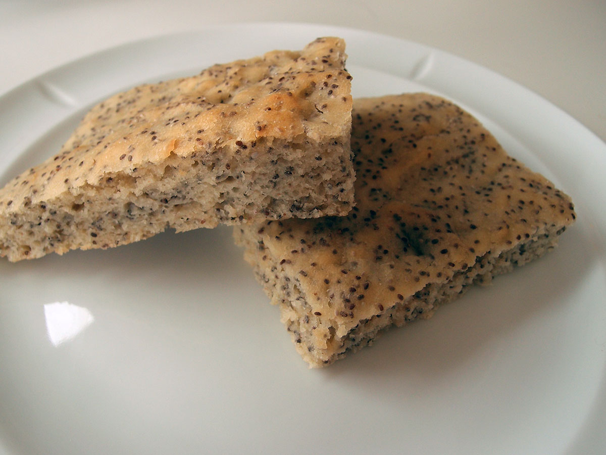 chiabrød, brød, sandwichbrød, creme fraiche, gær, chiafrø, rapsolie, hvedemel