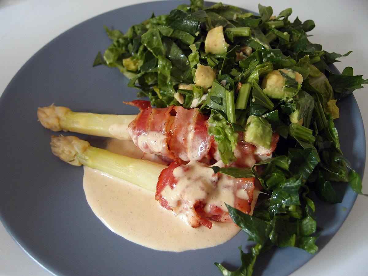 hvide asparges, baconfløde, bacon, fløde, citron, svinekød