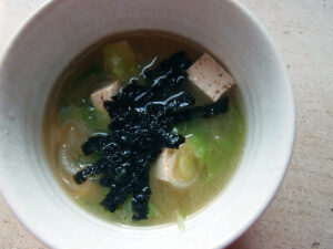misosuppe, grøntsagssuppe, suppe, vegetar, japansk, miso, dashi, forårsløg, tofu, tang