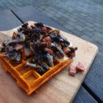 Græskarvafler med svampe og bacon