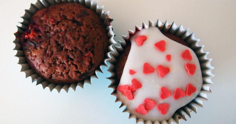 Chokolademuffins med hindbær