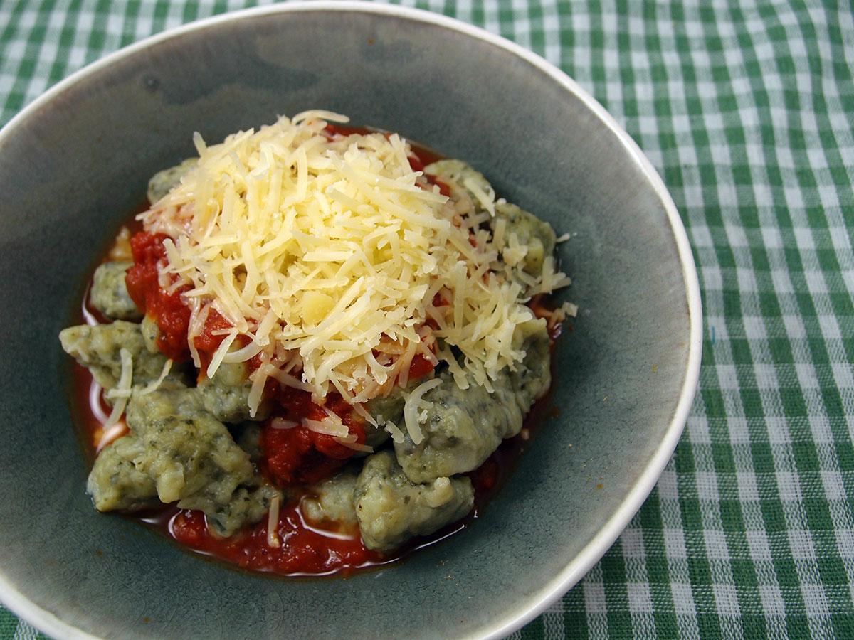 grønkåls-gnocchi, gnocchi, italiensk, grønkål, kartofler, æg, hvedemel, vegetar