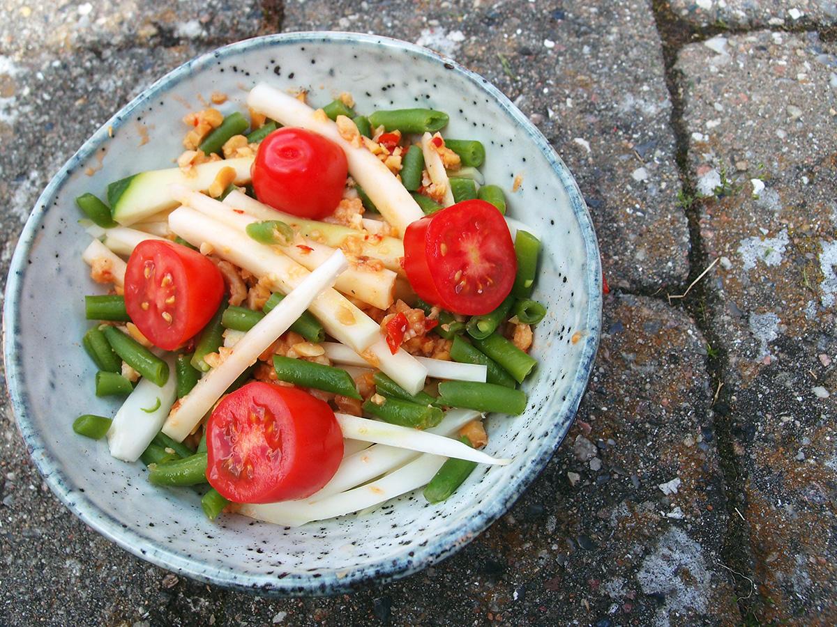 papayasalat, papaya, salat, bønner, tomater, peanuts, hvidløg, chili, rejepasta, lime
