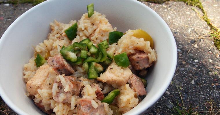 Jambalaya med kylling og krydret pølse