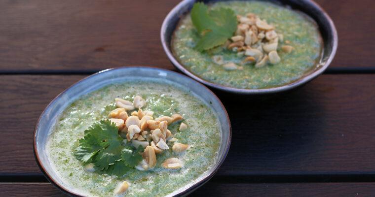 Agurke-gazpacho med koriander og peanuts