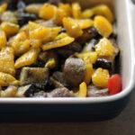 Lam med aubergine og peberfrugt