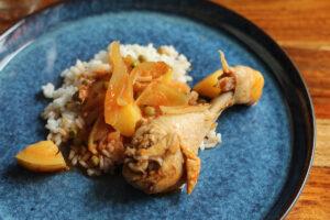 durban chicken stew, kyllingestuvning, kylling, løg