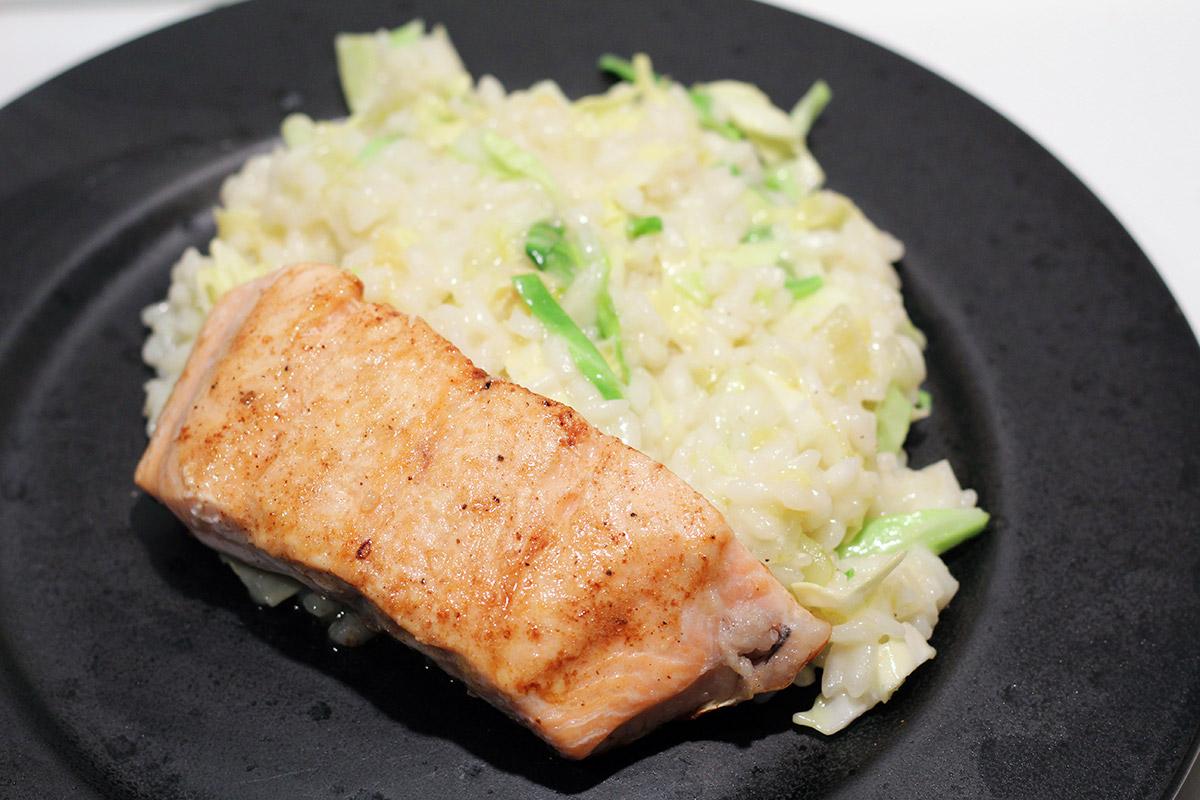 lime-risotto, risotto, grødris, risottoris, ris, lime, spidskål, ost, ginger beer, smør, laks, ingefær