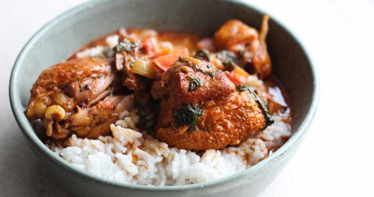 Kyllingegryde med gulerødder og spinat