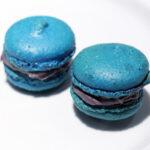 Blå macarons med lakridscreme