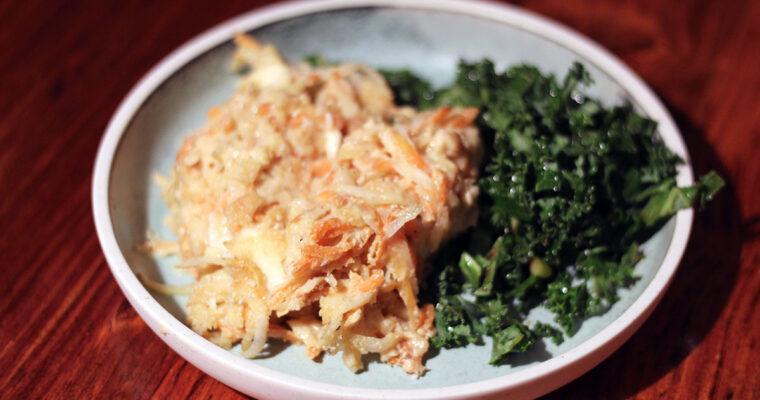 Kartoffelgratin med gulerødder
