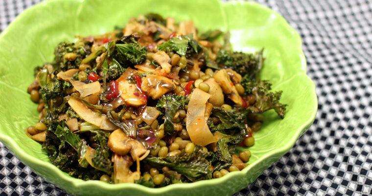 Linsesalat med grønkål og svampe