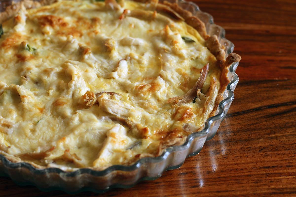 forårstærte, tærte, madtærte, hvedemel, æg, smør, kylling, asparges, fløde, ost