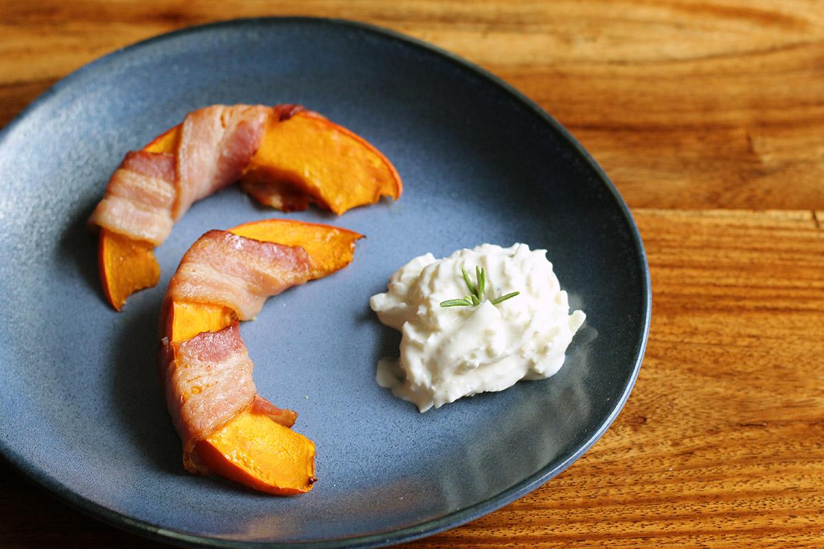 hokkaido græskar, bacon, græskarbåde,