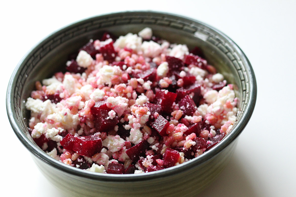 rødbedesalat, salat, rødbeder, feta, spelt
