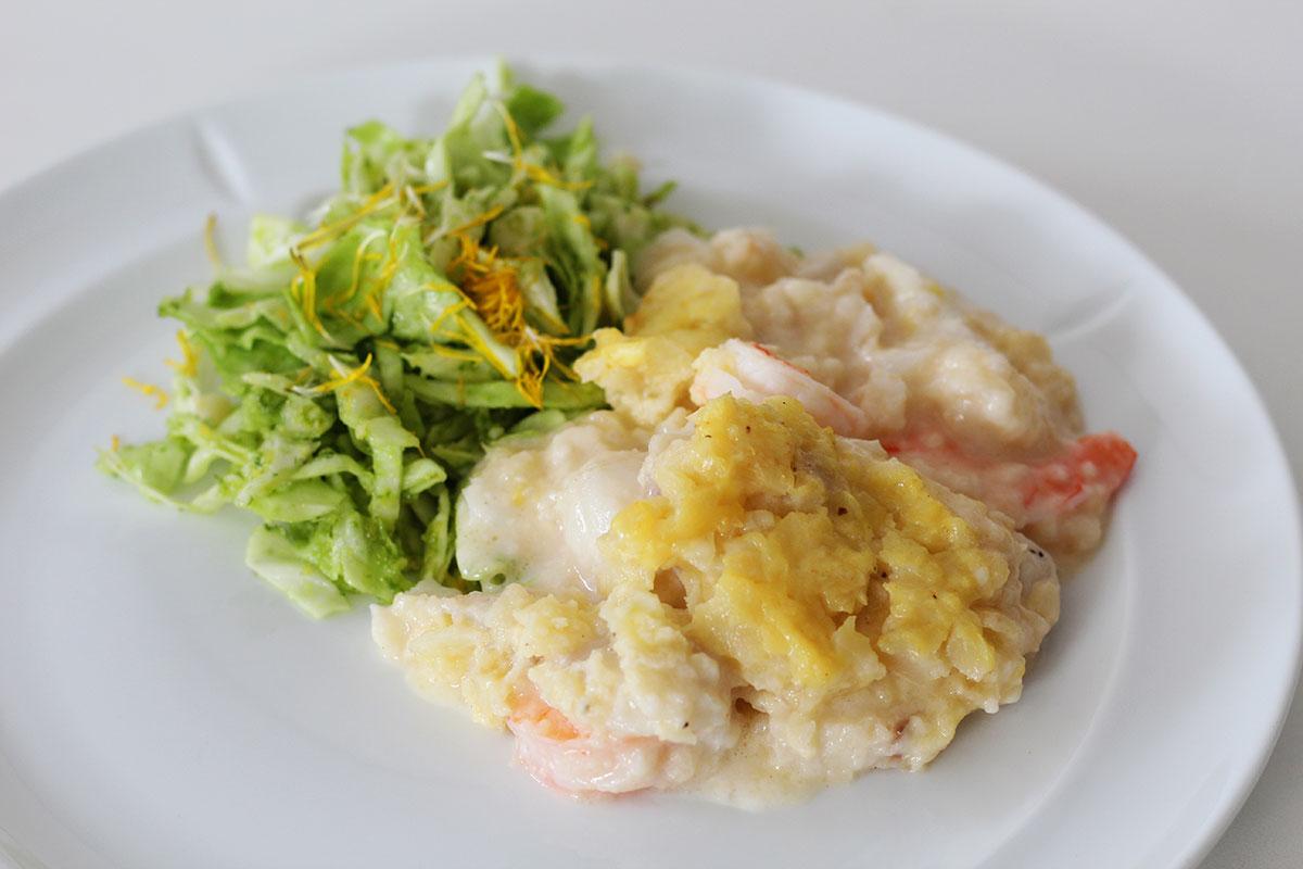 fish pie, fiskefad, fisk, torsk, rejer, skaldyr, smør, hvedemel, fiskefond, fløde, hvidvin, fiskesauce, knoldselleri, mælk, æg, ost,