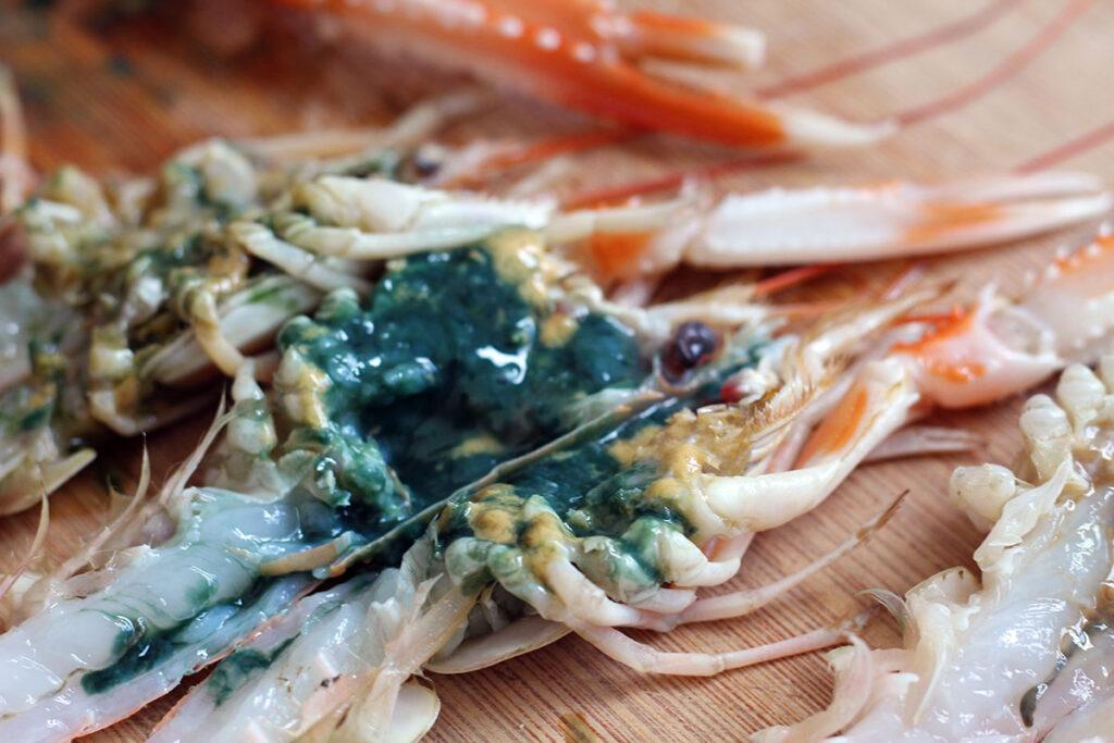grillede jomfruhummere, koral, olivenolie, persille, grill, jomfruhummer