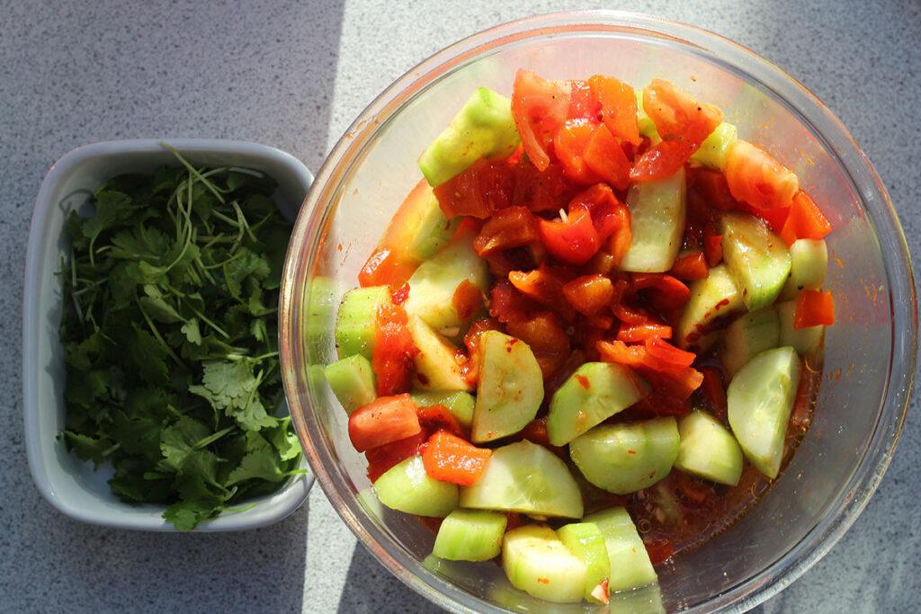potugisisk salat, tomater, agurk, peberfrugt, olivenolie, hvidvin, koriander, chili