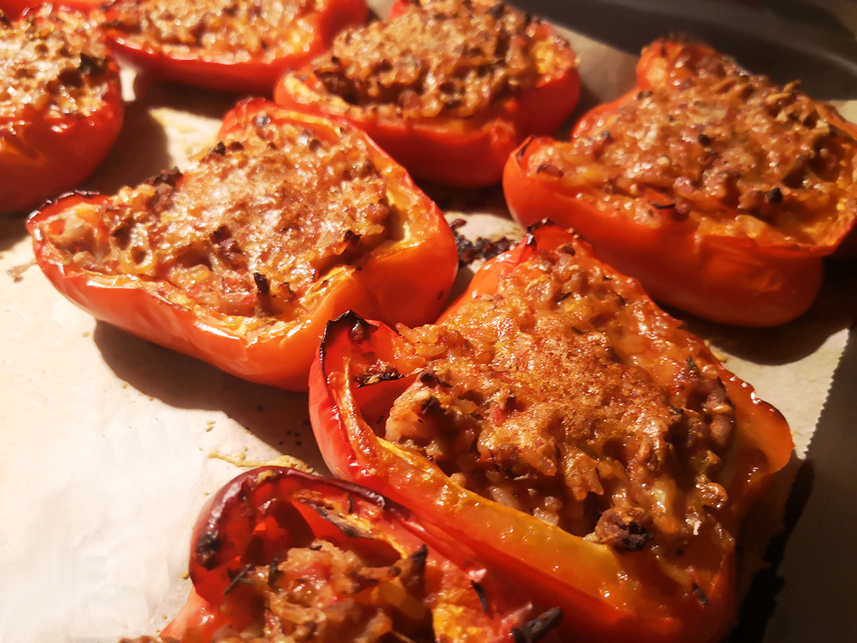 Farserede peberfrugter