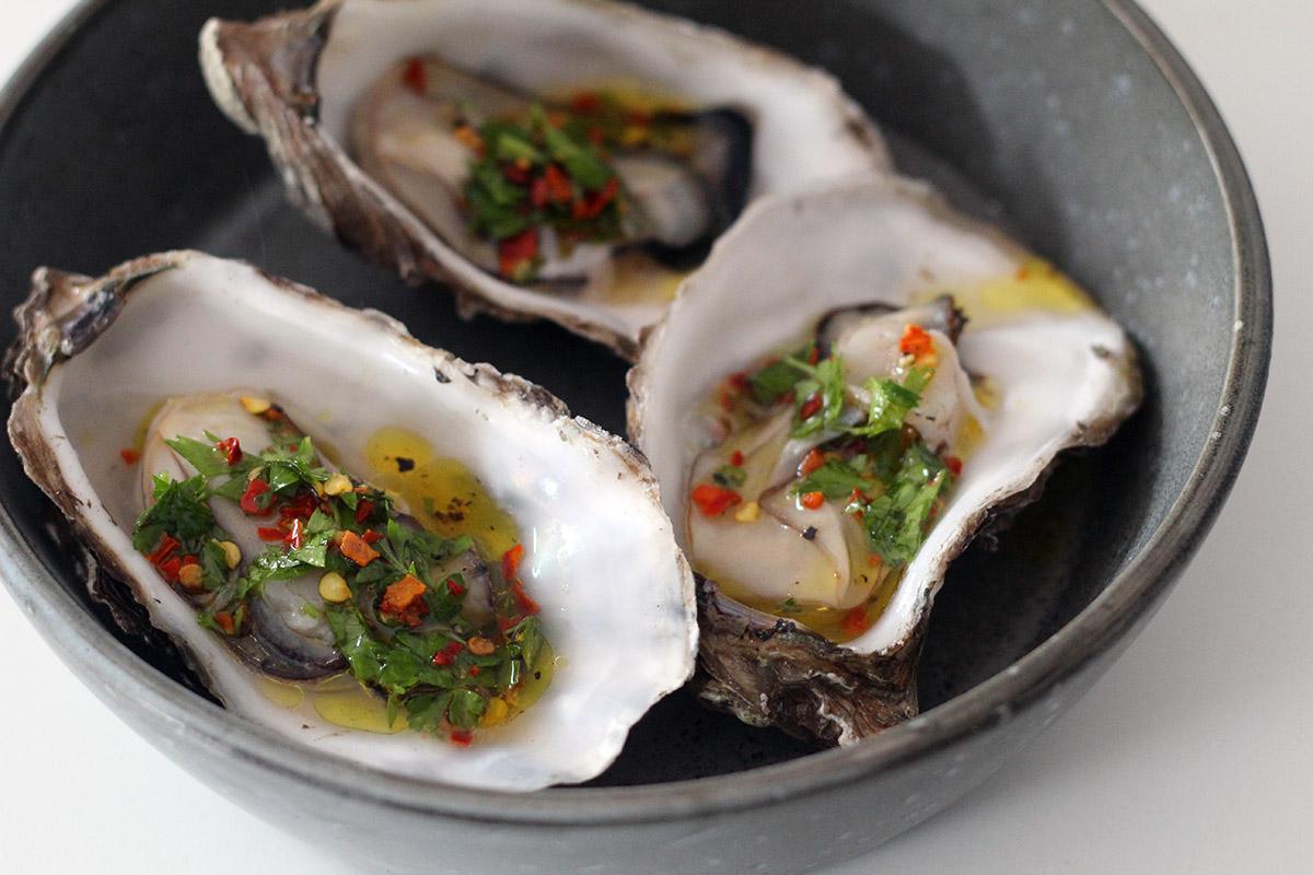 Grillede østers