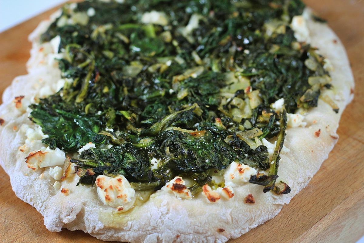 Spinatpizza med feta