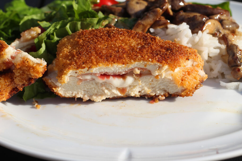 cordon bleu, skinke, ost, kylling, sennep