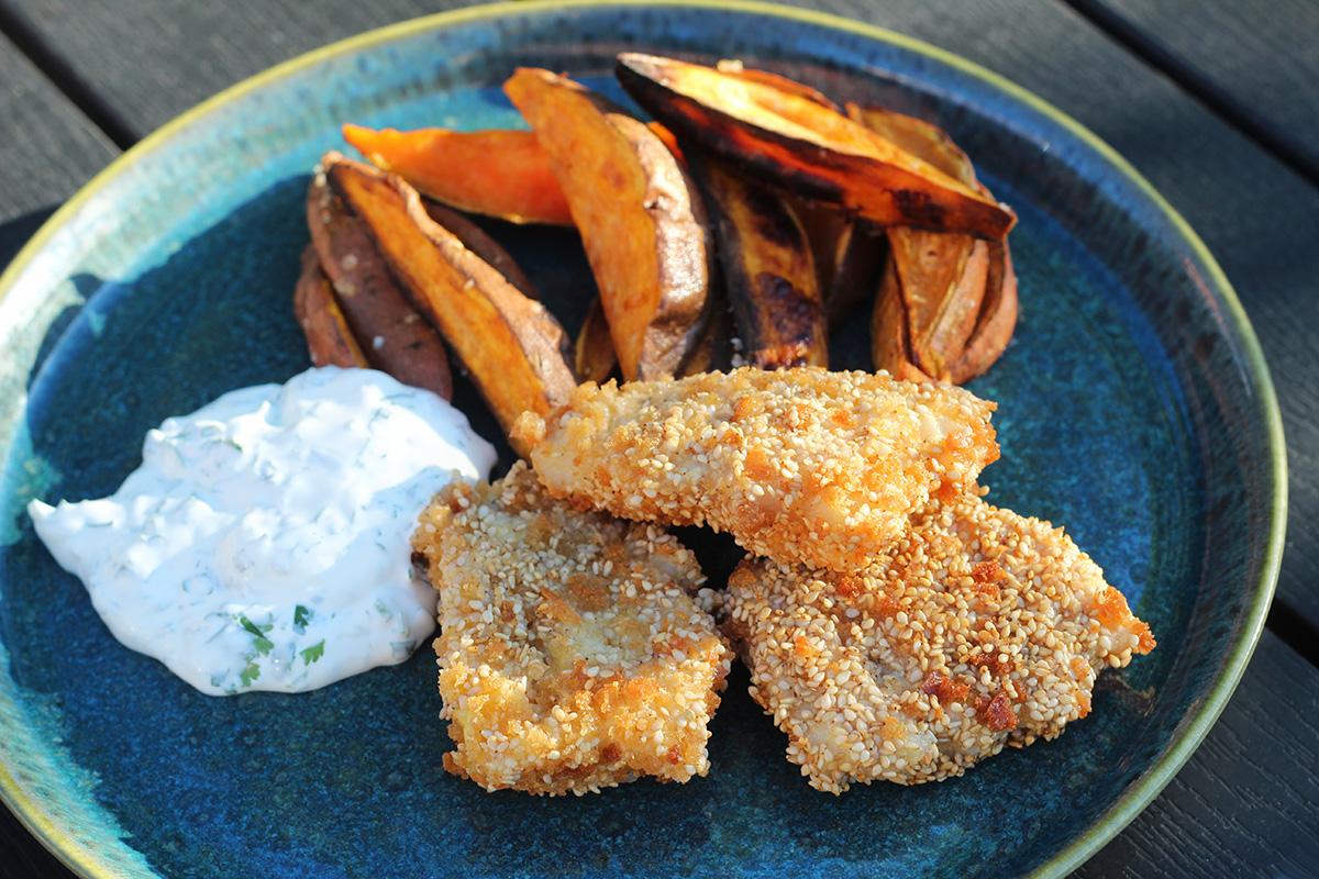 Fish 'n' chips med søde kartofler