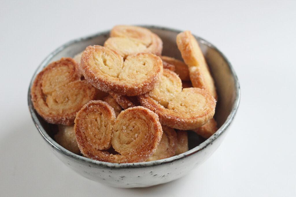 palmiers, småkage, fransk, kage, smør, hvedemel, creme fraiche, rørsukker